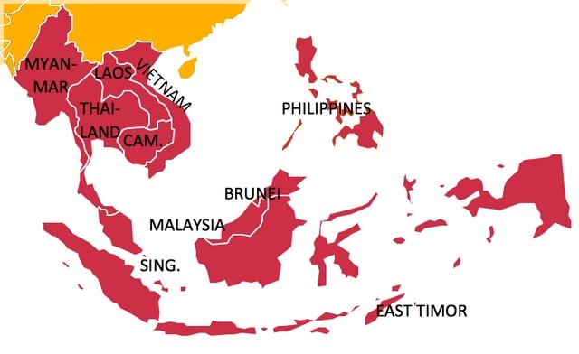 Juhovýchodná Ázia mapa na Šnorchlvoanie.sk